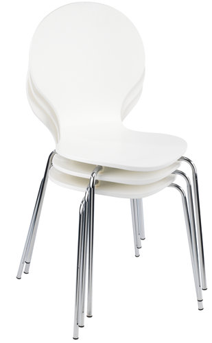 Dining chair tommerup white chrome jysk for White chrome dining chairs