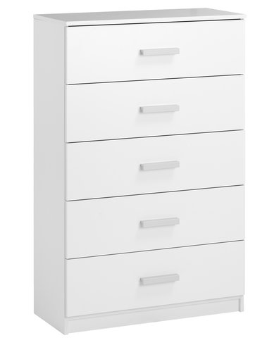 Commode KABDRUP 5 tiroirs large blanc