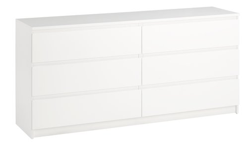 Kommode TRANBJERG 3+3 skuffer hvit
