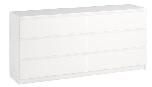 Kommode TRANBJERG 3+3 skuffer hvid