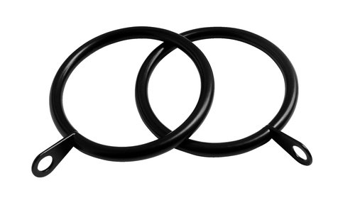 Curtain rings PRESTINE 28mm 8 pack black
