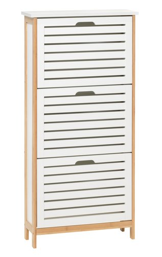 Shoe cabinet BROBY 3 comp. bamboo/white