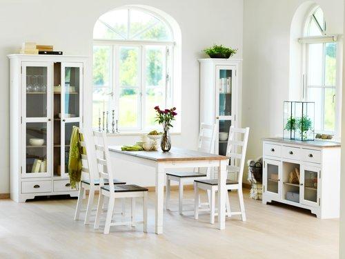 Stół RYSLINGE 180/270 biały/brąz