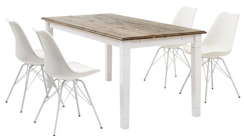 Jedál. stôl RYSLINGE 180/270 biela/hnedá