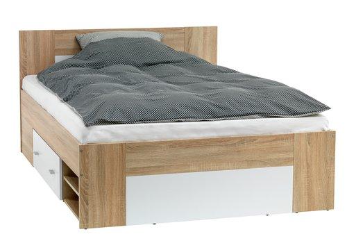 Rama łóżka FAVRBO 160x200 dąb/biały