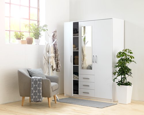 Szafa VINDERUP 3 drzwi 3 szufl. biały
