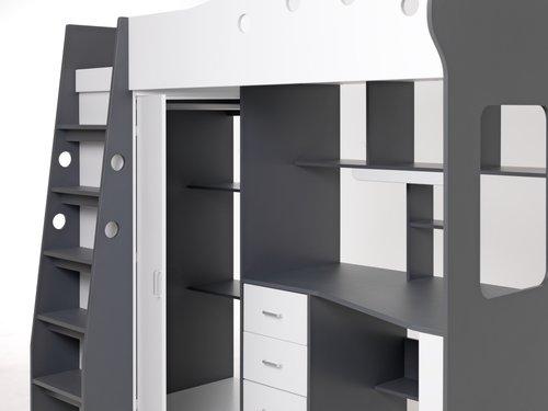 Multi emeletes ágy TAVLUND fehér/szürke