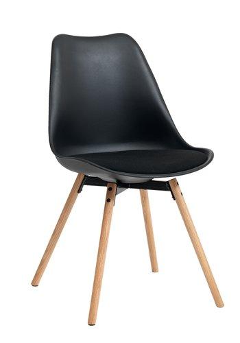 Dining chair KASTRUP fabric black/oak