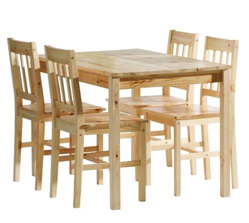 TYLSTRUP Masă 118 + 4 scaune pin