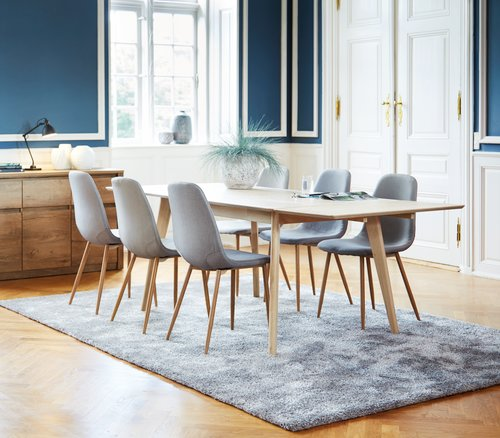 KALBY L160/250 oak + 4 JONSTRUP grey