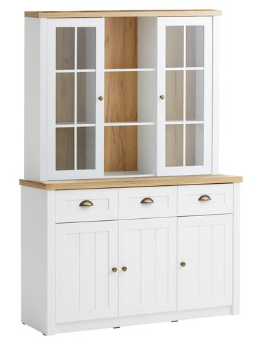 Sideboard MARKSKEL 3 door 3 drw wht/oak