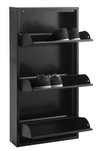 Schuhschrank HALLENSLEV 3 Fächer schwarz