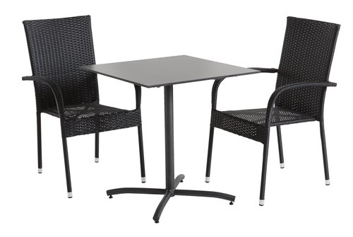 Bistro table STRANDBY W70xL70 black