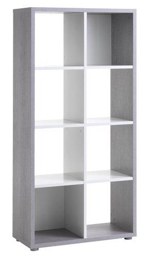 Rumsavdelare HALDAGER 8hyllor betong/vit