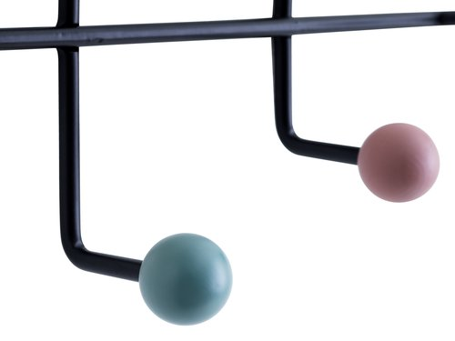 Coat rack GAMBY 6 hooks black/coloured