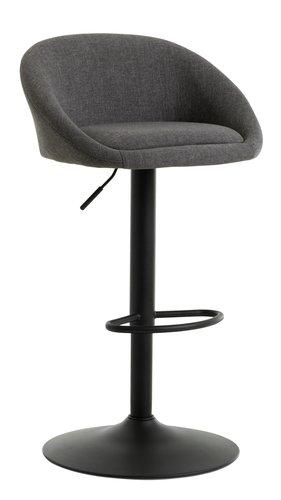 Barová židle TAULOV šedá/černá