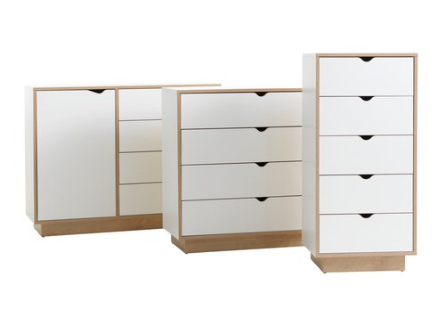 4 drw chest MAMMEN white/oak