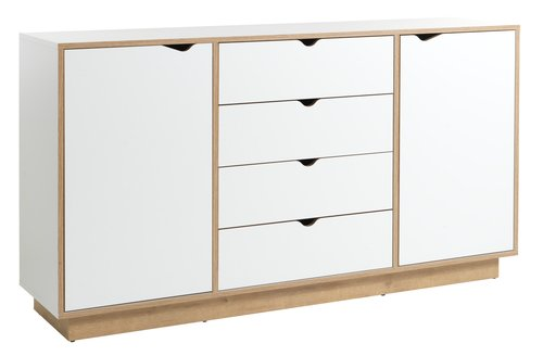 Sideboard MAMMEN 2 door 4 drw white/oak