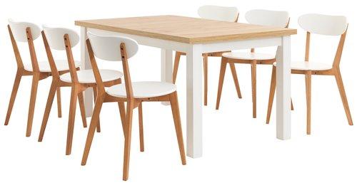 Spisebord MARKSKEL 90x150/193 hvit/eik
