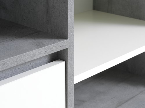 Sideboard BILLUND 1 door white/concrete