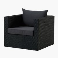Loungestoel BASTRUP zwart
