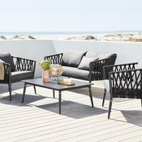 Loungeset HOLTE 4-persoons zwart