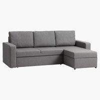 Καναπές-κρεβάτι με σεζλόνγκ VILS αν.γκρι