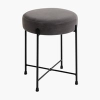 Stool PADBORG velvet light grey/black