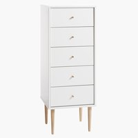 Commode IDOMLUND 5 lades smal wit/eik