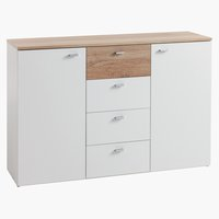 Dressoir BELLE 2deur 4lades wit/eik