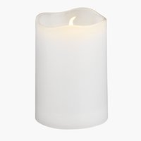 Pillar candle SOREN D5xH8cm white w/LED