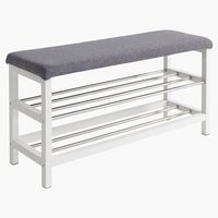 Bench EGESKOV w/shoe shelves metal/white