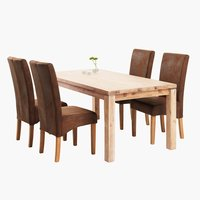 Stôl LUNDBY + 4 stoličky BORUP hnedá