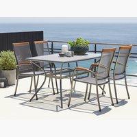 LARVIK стол 150см + LARVIK 4 стула серый