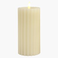 Candle ODEN D8xH15cm white w/LED