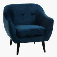 Кресло EGEDAL кадифе, тъмносиньо