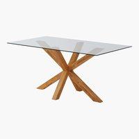 Trpez. stol AGERBY 90x160 staklo/hrast