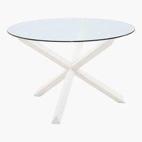Mesa jantar SASKIA Ø119 branco/vidro