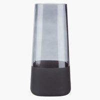 Jarrón SEBASTIAN Ø13xA28cm cristal negro