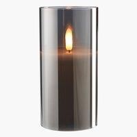 Lumânare groasă KLAUS 8x15cm gri cu LED