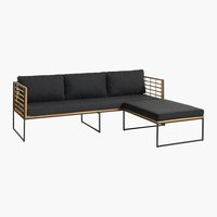 Loungebank UGILT m/chaise longue 3 pers.