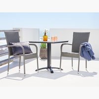 HOBRO L70 table gris + GUDHJEM chaise