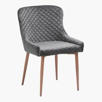 Krzesło PEBRINGE aksamit szary/dąb