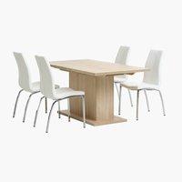 Miza BIRKELSE D160/200 + 4 stoli HAVNDAL