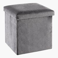 Pouf KALUM 38x38 velluto grigio