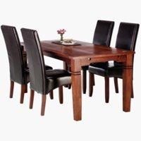 Stôl FREDERICIA D178 + 4 BAKKELY hnedá