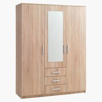 Wardrobe VINDERUP 3 doors 3 draw. oak