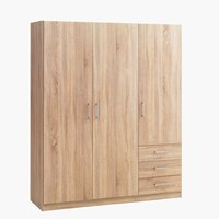 Wardrobe HAGENDRUP 3doors 3drawer oak