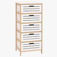5-drawer chest BROBY bamboo/white