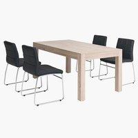 Miza HALSTED + 4 stoli HAMMEL črna